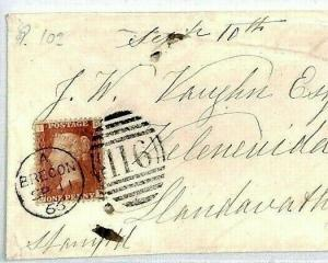 CS335 GB WALES Cover 1866 Superb *Brecon* Duplex Penny Red Plate 102 {samwells}