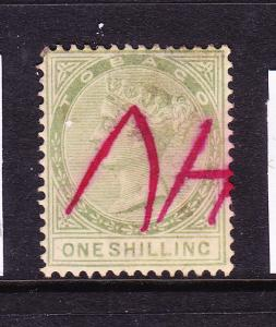 TOBAGO  1879  1/-  GREEN  QV PEN CANCEL    SG 4