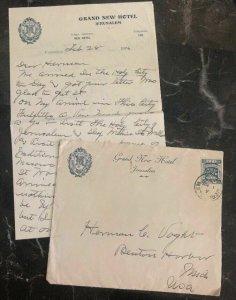 1926 Jerusalem Palestine Grand View Hotel  cover To Benton Harbor USA W Letter