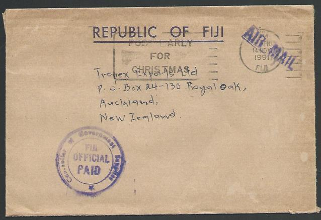 FIJI 1991 cover to NZ, ex Suva with FIJI OFFICIAL PAID ....................13207