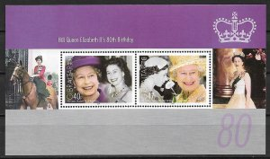 2006 Gibraltar 1038e Queen Elizabeth 80th Birthday MNH S/S