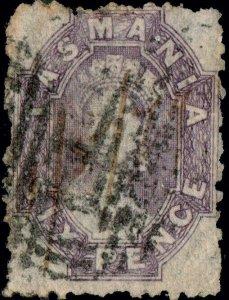 TASMANIA - 1860s SG75 6d slate-violet p.12 - fine used