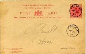 Saint Lucia 2d QV Attached Reply Postal Card 1895 St. Lucia to Castries.  Phi...