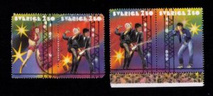 Sweden Sc 1909 (1) Used Pair  & (1) MH Pair Rock and Roll  F-VF (1991):
