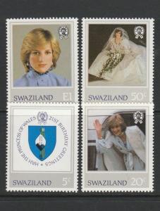 Swaziland 1982 21st Birthday Diana UM/MNH SG 404/07