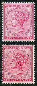 Natal SG99/a 1884/5 1d wmk Crown CA Rose and Carmine Cat 17 pounds