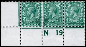 SG379 SPEC N23(6), 4d bluish grey-green, M MINT. Cat £85+ CONTROL N19 STRIP OF 3