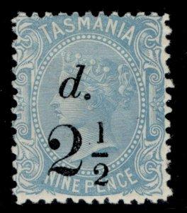AUSTRALIA - Tasmania QV SG169, 2½d on 9d pale blue, M MINT.