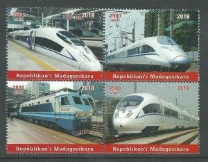 Malagasy   Block  Trains   Mint  NH VF 2018  PD