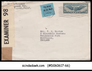 USA - 1941 AIR MAIL envelope to ENGLAND - CENSORD