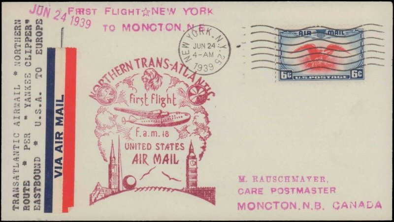 NEW YORK NY 1939  FIRST FLIGHT TO CANADA ( BACK CANCEL  )   #109