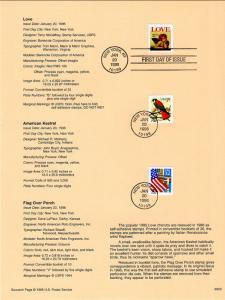 US SP1171 Love,Kestrel,Flag 2920e,3030,3044 Souvenir Page FDC