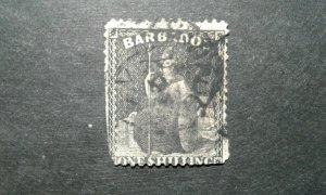 Barbados #32 used wmk 5 trimmed e205 9449