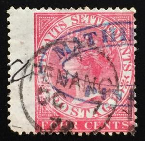 Malaya Straits Settlements 1882 QV 4c Used CrownCA SG#51 CV£15 M1899
