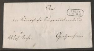 Germany, 1863 Stampless Cover, boxed RIESA postmark 2;0