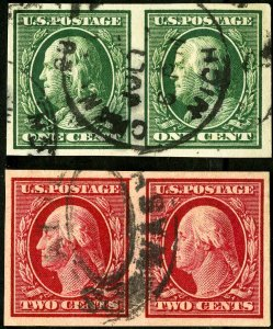 US Stamps # 383+4 Used XF Pairs