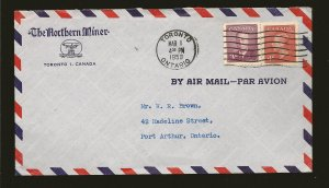 Canada 287 & 291 on Postmarked 1950 Toronto Ontario Advertising Air Cover Used
