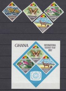 Z3926, 1967 ghana mnh set + s/s #315-8a wildlife