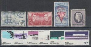 Ross Dependency Sc L1/L14 MNH/MLH. 1957 (LH) & 1972 (NH) issues, 2 cplt sets,