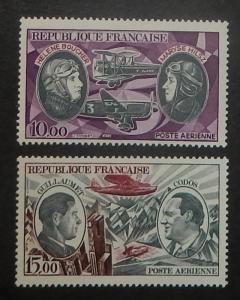 France C46-47. 1972-73 10Fr-15Fr Aviation Pioneers, NH