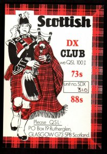QSL RADIO CARD Bagpipe Player,Scottish DX Club,David,Glasgow Scotland (Q3880)