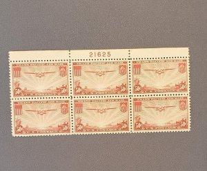 C22, China Clipper, 50c Carmine, Mint Plate Block of 6, OGNH CV $120