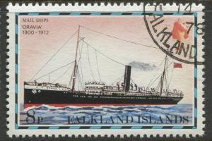 Falkland Is.- Scott 267 - Ships Issue - 1978 - VFU - Single 8p Stamp