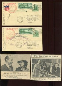 2 C13 Post Cards signed LORD HUBERT WILKINS & Lady Suzanne (Bennett) Wilkins