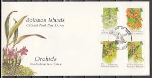 Solomon Is., Scott cat. 804-807. Orchids issue on a First day cover.