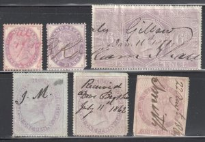 Great Brittain Inland Revenue Collection - 6 Stamps-- C$600,00