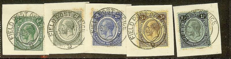 NYASALAND (P2306B) KGV 5 PIECES  SON FIELD POST OFFICE CANCELS SUPERB VFU