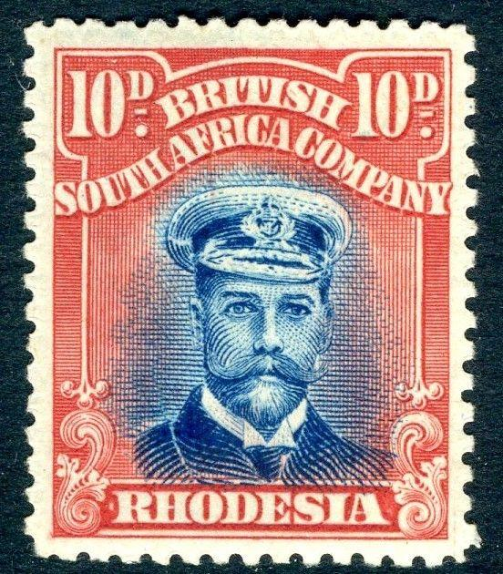 RHODESIA-1919 10d Blue & Red Sg 270 LIGHTLY MOUNTED MINT V18583