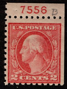 US #463a  BOOKLET SINGLE with PLATE NUMBER, VF/XF mint hinged, wonderfully fr...