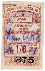 (I.B) London & South Western Railway : Paid Parcel 1/6d (Andover Town)