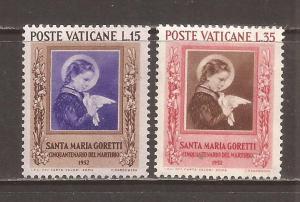 Vatican scott #156-57 m/h stock # N4611