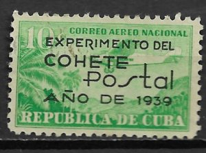1939 Cuba C31 Experimeantal Rocket Mail used