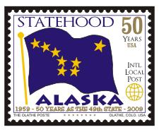 Alaska 50th Anniv of Statehood Local Post - MNH - Cinderella
