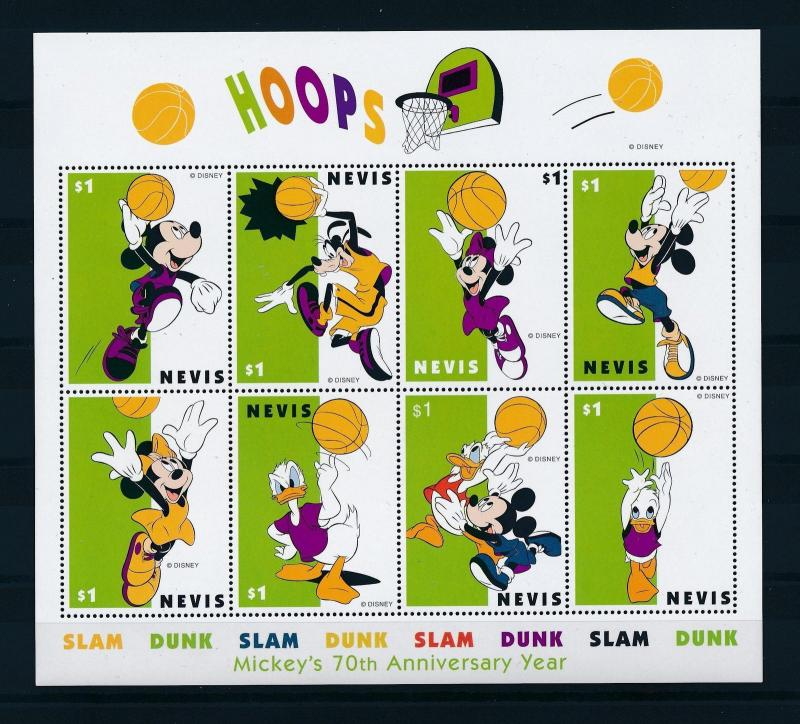 [25076] Nevis 1998 Disney Mickey Mouse Donald Duck Goofy Sports Basketball