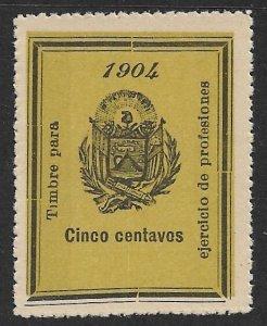 EL SALVADOR 1904 5c ARMS Professional Licenses Fee Revenue Ross 121 MNGAI