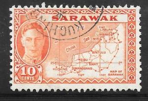 Sarawak 195: 10c Map, used, F-VF