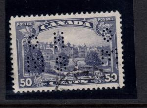 Canada #O226 Very Fine Used 4 Hole Perf OHMS With Light CDS Cancel