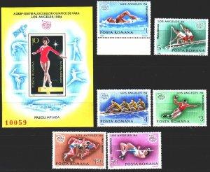 Romania. 1984. 4042-47, bl204. Los Angeles Summer Olympics. MNH.