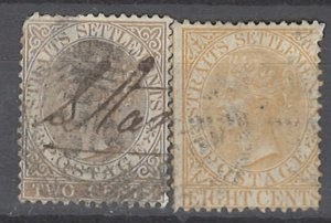 COLLECTION LOT # 2200 STRAITS SETTLEMENTS 2 STAMPS 1867 CV+$26