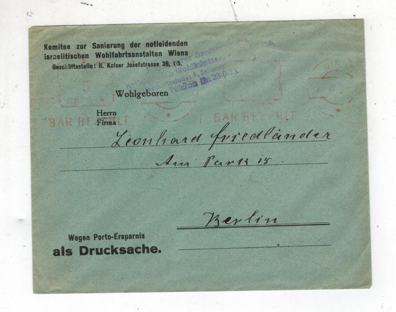 1948 Vienna Austria Cover to Berlin Germany Judaica Israelite Committee