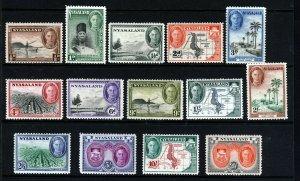 NYASALAND KG VI 1945 The Complete Pictorial Set SG 144 to SG 157 MNH & MINT