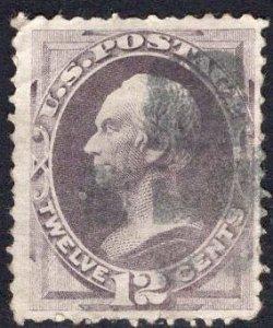 US Stamp Scott #151 12c Dull Violet Clay Used SCV $210