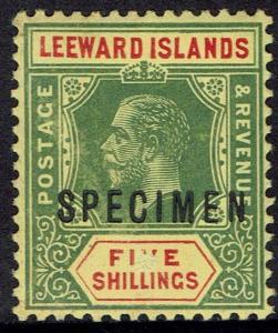LEEWARD ISLANDS 1912 KGV SPECIMEN 5/- WMK MULTI CROWN CA