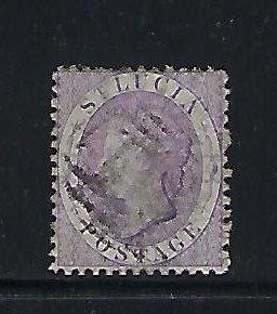 ST. LUCIA SCOTT #9A 1864 VICTORIA PERF 12 1/2 - WMK 1 (LILAC) USED