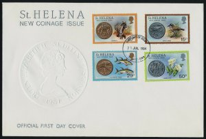 St Helena 416-9 on FDC - Coins on Stamp, Bird, Flower, Fish, Donkey