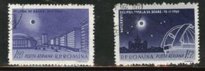 ROMANIA Scott C9106-7 used CTO Airmail eclipse set 1961